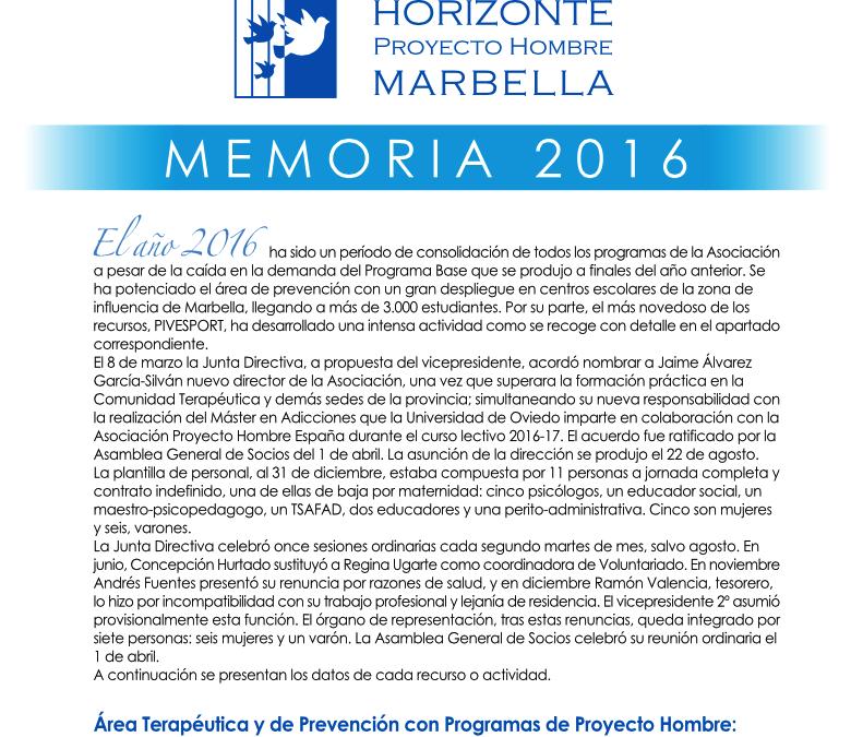 Memoria 2016: Actividades, informe de auditoría y balances