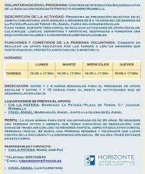 Voluntariado en los Centros de Integración Socioeducativa de la Asociación Horizonte