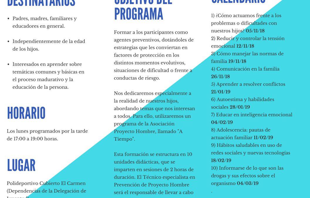 """ABIERTO EL PLAZO DE INSCRIPCIÓN PARA EL PROGRAMA GRATUITO """"ESCUELAS DE FAMILIAS"""""""